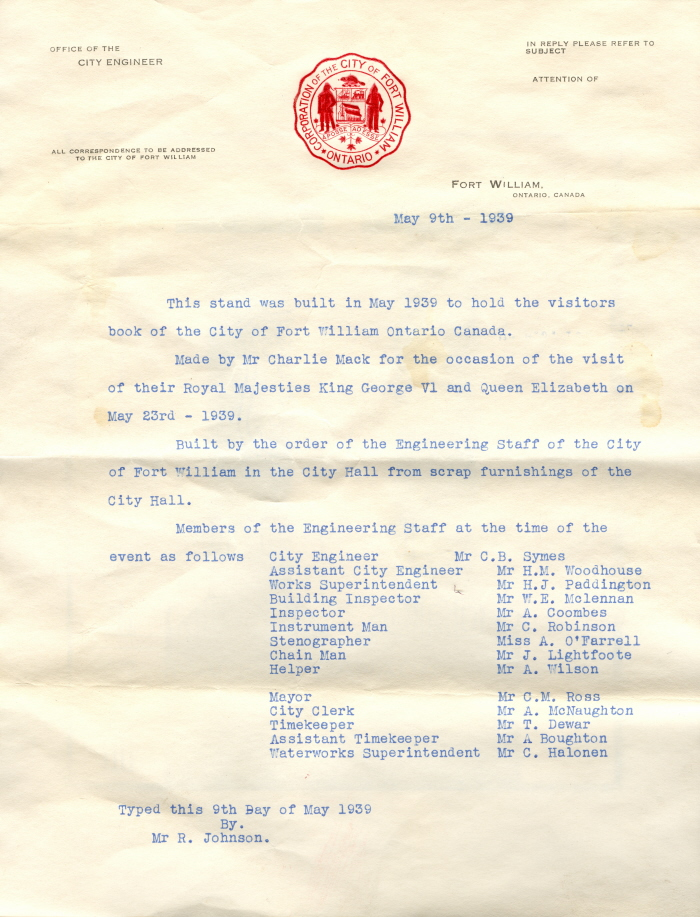 A letter typed in blue ink with a red Fort William City crest at the top