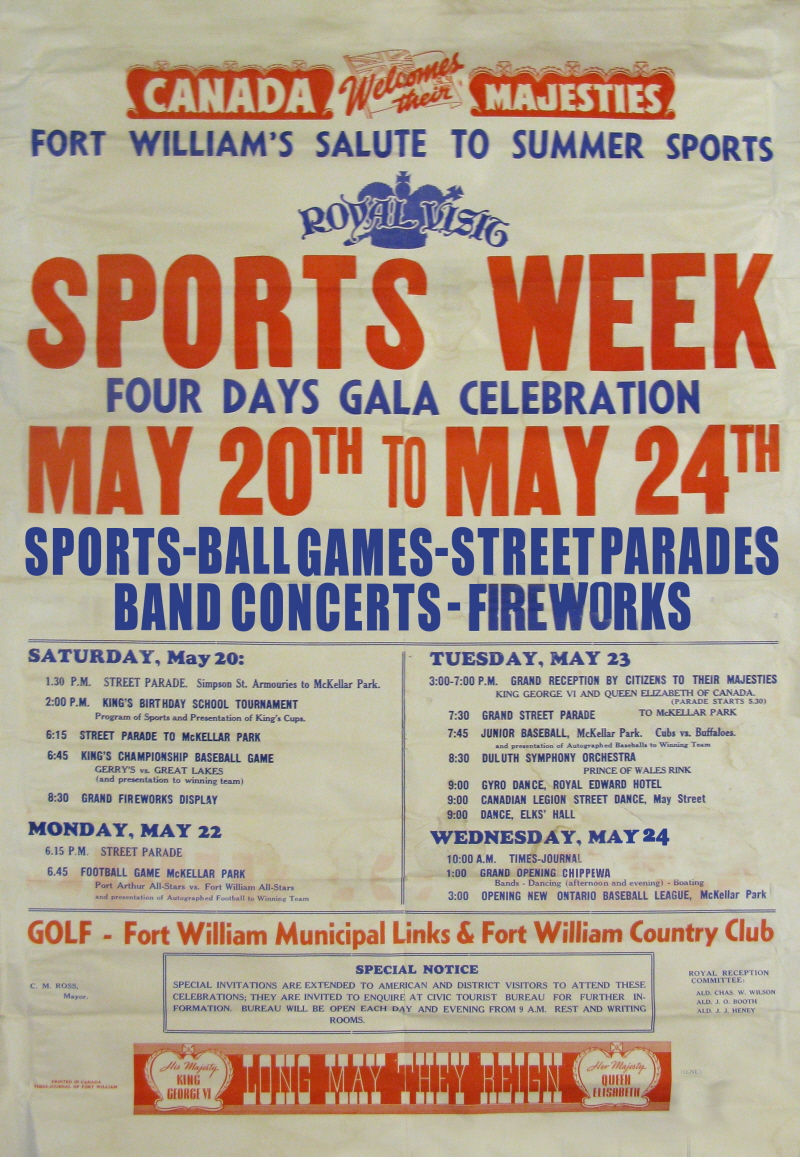 A poster with red, black and blue writing detailing a sports week