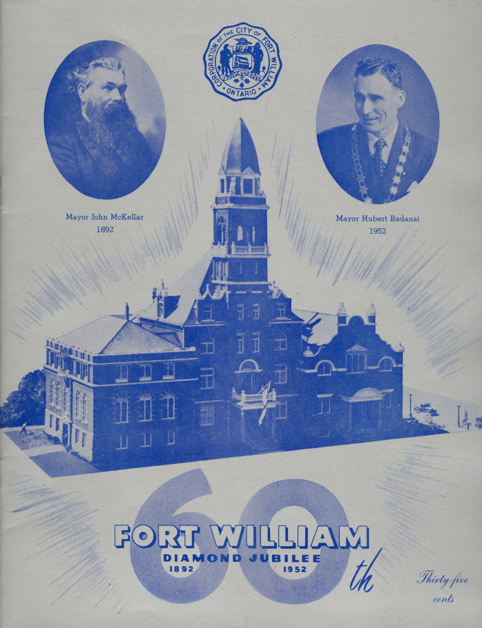 A blue paper with blue text and photos showing portraits of two men and a building