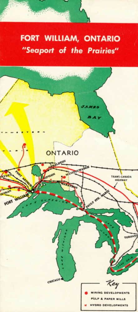 A colourful pamphlet showing a map of the shore of Lake Superior