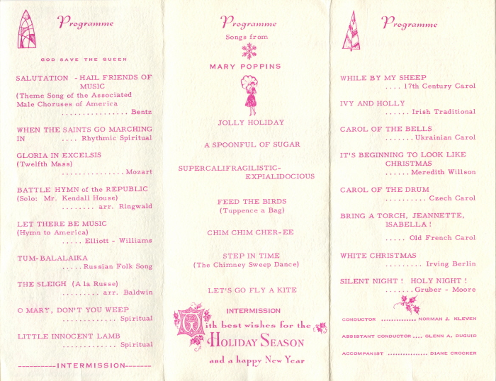 A white booklet with pink writing detailing songs being sung by the male choir