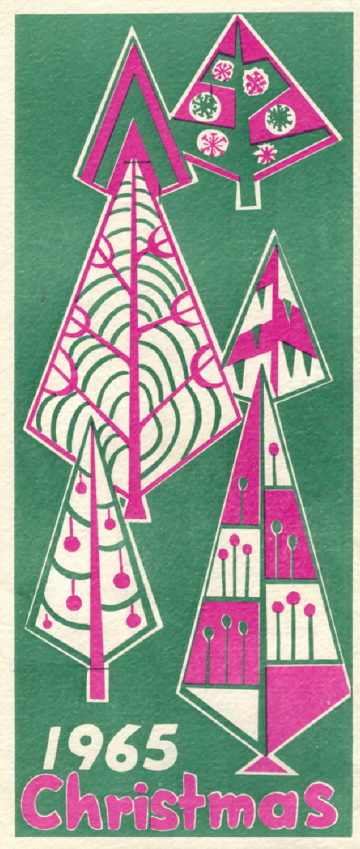 A green cover with a christmas tree detailed in pink