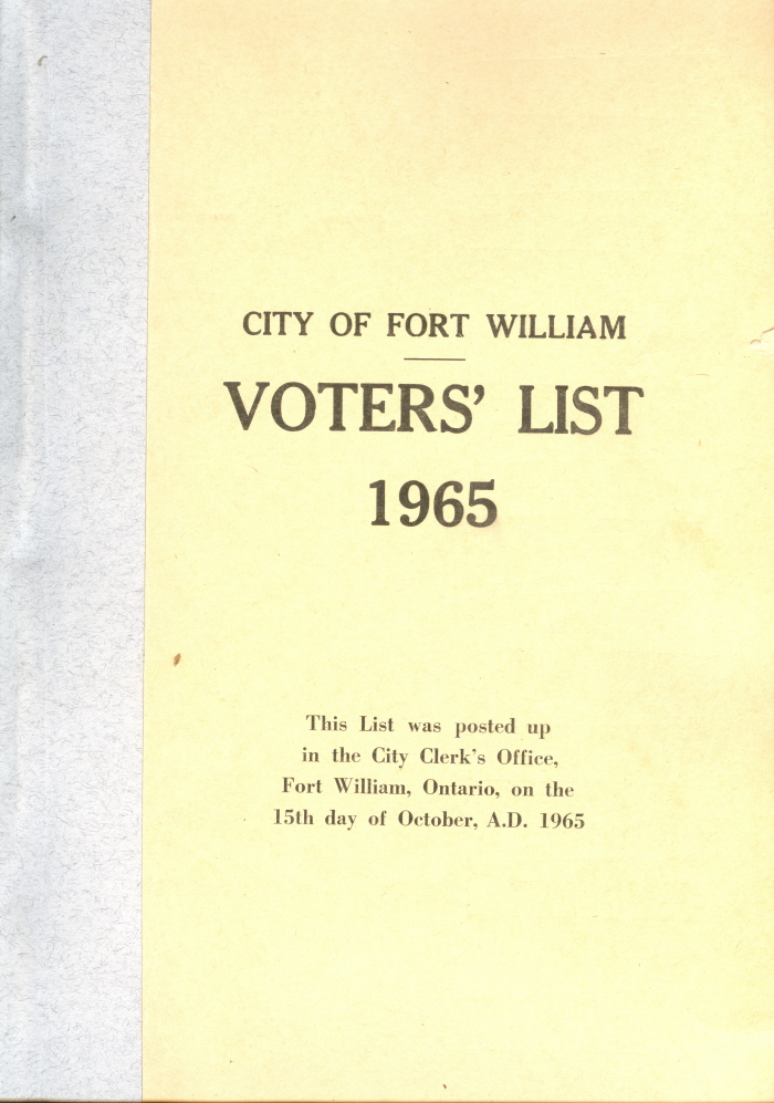 A blue and beige booklet detailing the voter's lists for Fort William