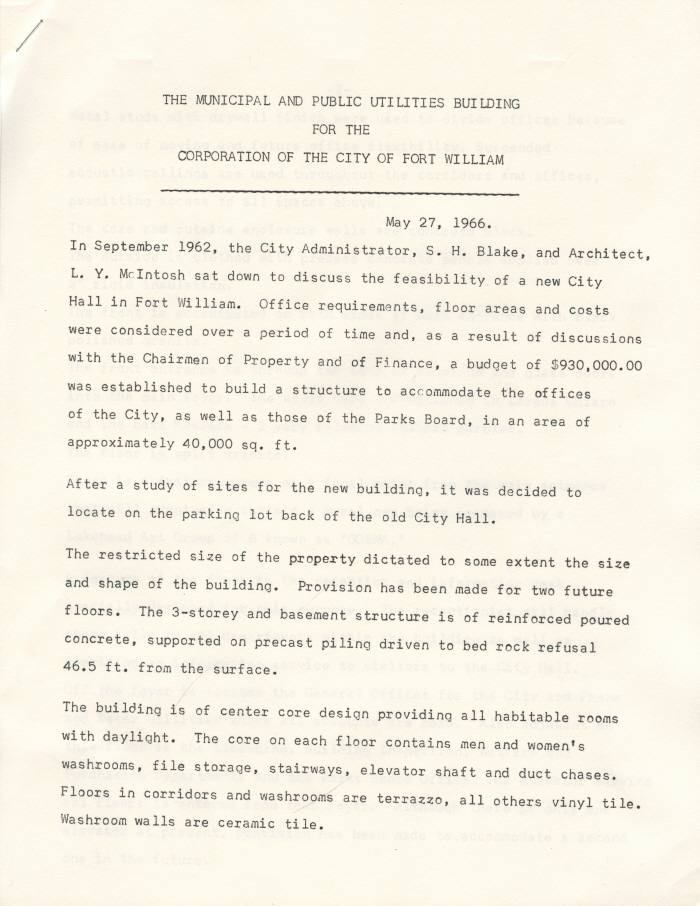 A typed document detailing the municipal and public utilities expenditure