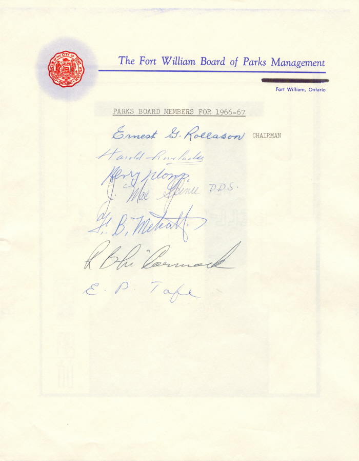 A document with the Fort William crest and headings with hand written names below