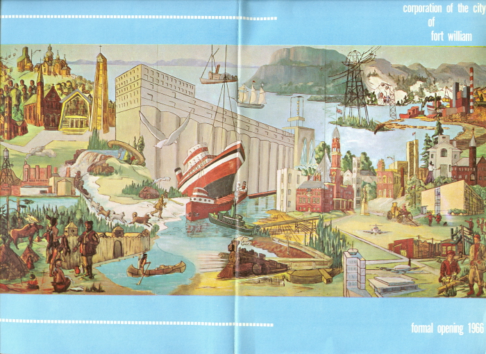 A blue pamhplet with a depiction of various landmarks from around Thunder Bay