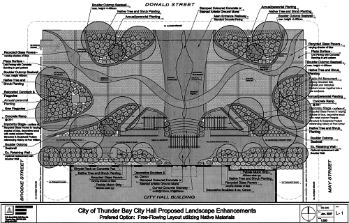 A black and white proposal for the gardens outside city hall