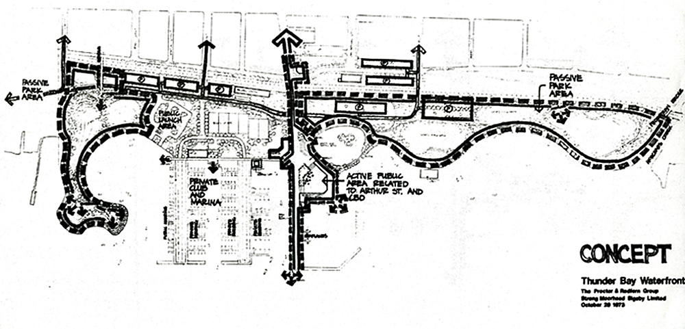 An intital drawing of the waterfronts layout showing paths and roads