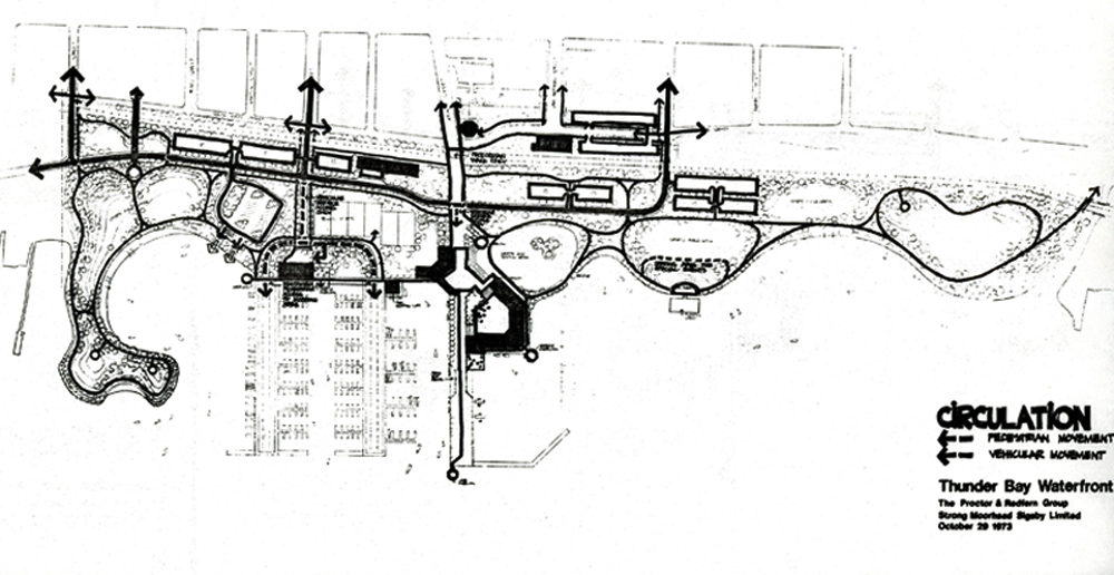 A drawing of the second phase of construction showing harbour and green space