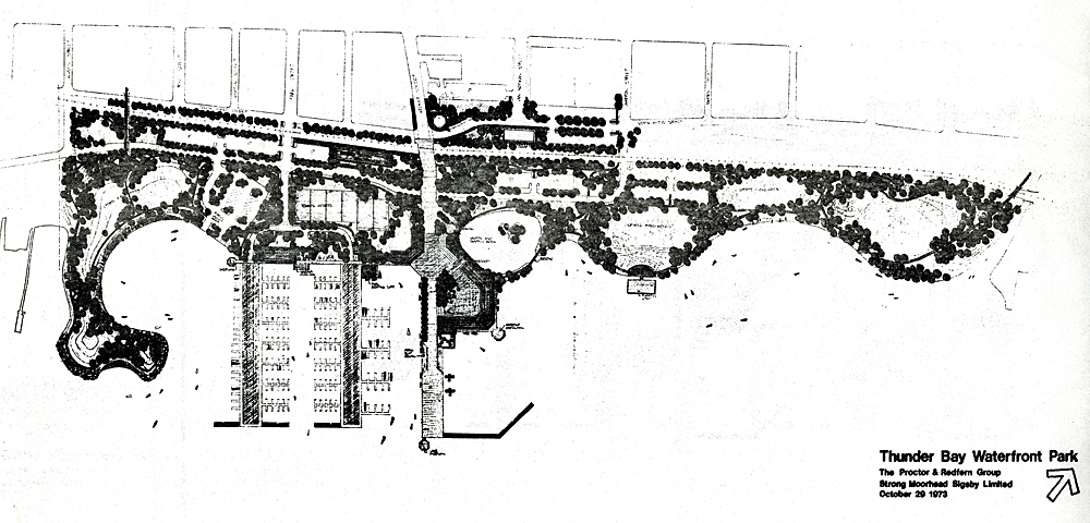A drawing of the final stage showing development and flora