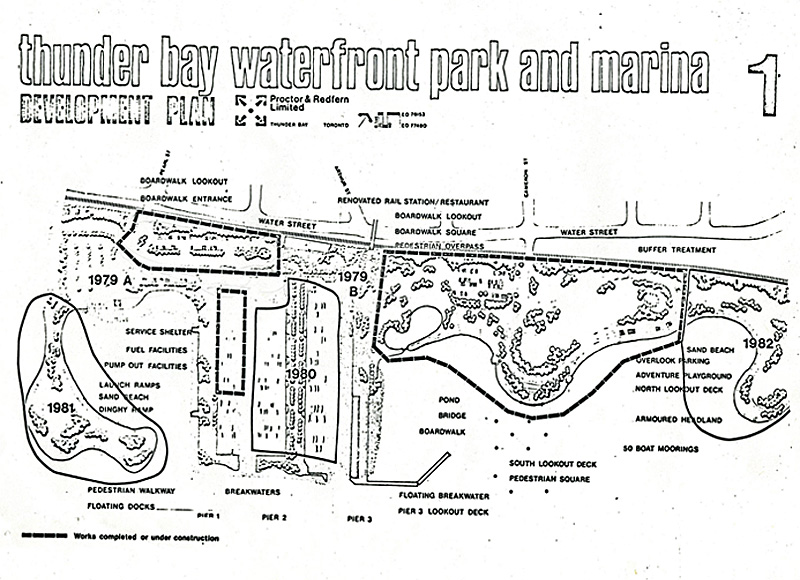 a map of the Thunder Bay waterfront with indicators of development