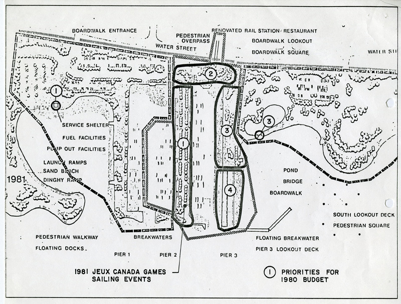 A drawn map of the waterfront including the marina and surrounding area