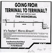 a typed advertisment for those who transfer buses between terminals