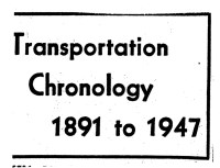 A poster titled transportation chronology 1891-1947