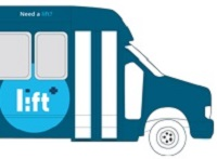 a drawing of a blue bus with a lift sign on the side