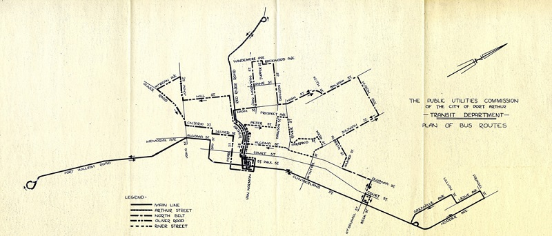A hand drawn plan of the City of Port Arthur's transit routes, 1960