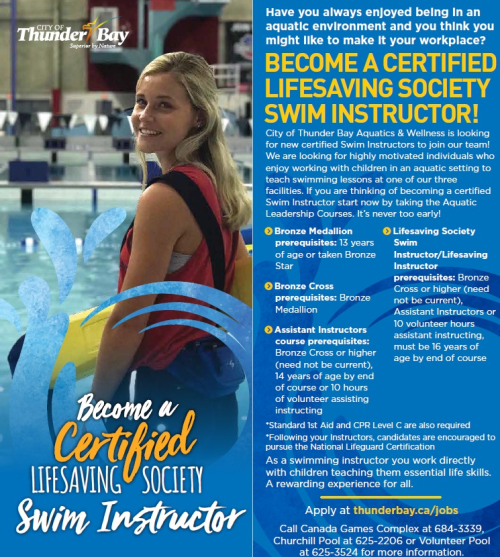 Picture of lifeguard with information on swim instructor certification. To read more visit the Canada Games Comples, Churchill Pool, or Volunteer Pool websites