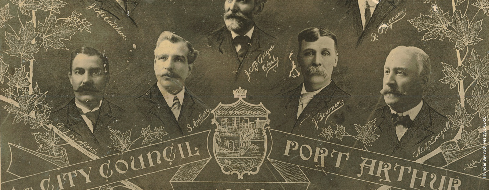 A group portrait of past Port Arthur Mayor and Councillors overlaid with the city crest