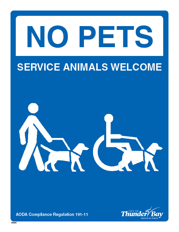 City of Thunder Bay's Service Animal sign