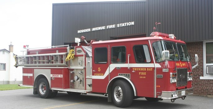pumper outside station