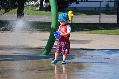 Boy at Franklin Street Splash Pad
