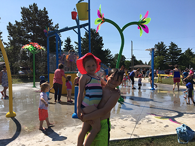 Kids playing at North End Park Splash Pad