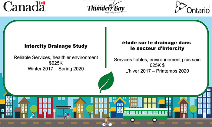 Image stating that the Intercity Drainage Study received funding from the Clean Water Wastewater Fund (CWWF)