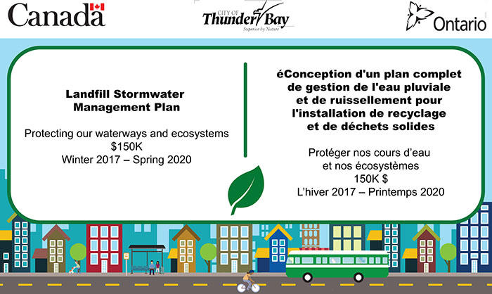 Image stating the Landfill Stormwater Management Plan received funding from the Clean Water Wastewater Fund (CWWF)