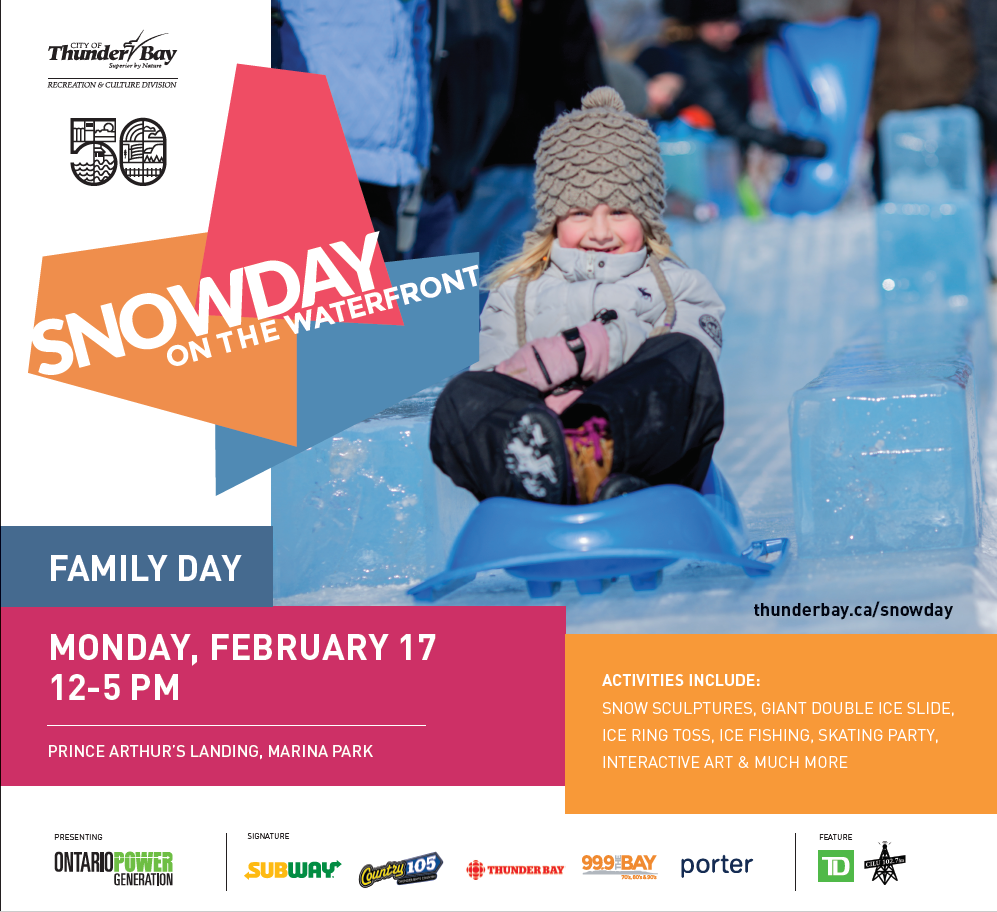 SnowDay Poster with girl sliding down ice slide