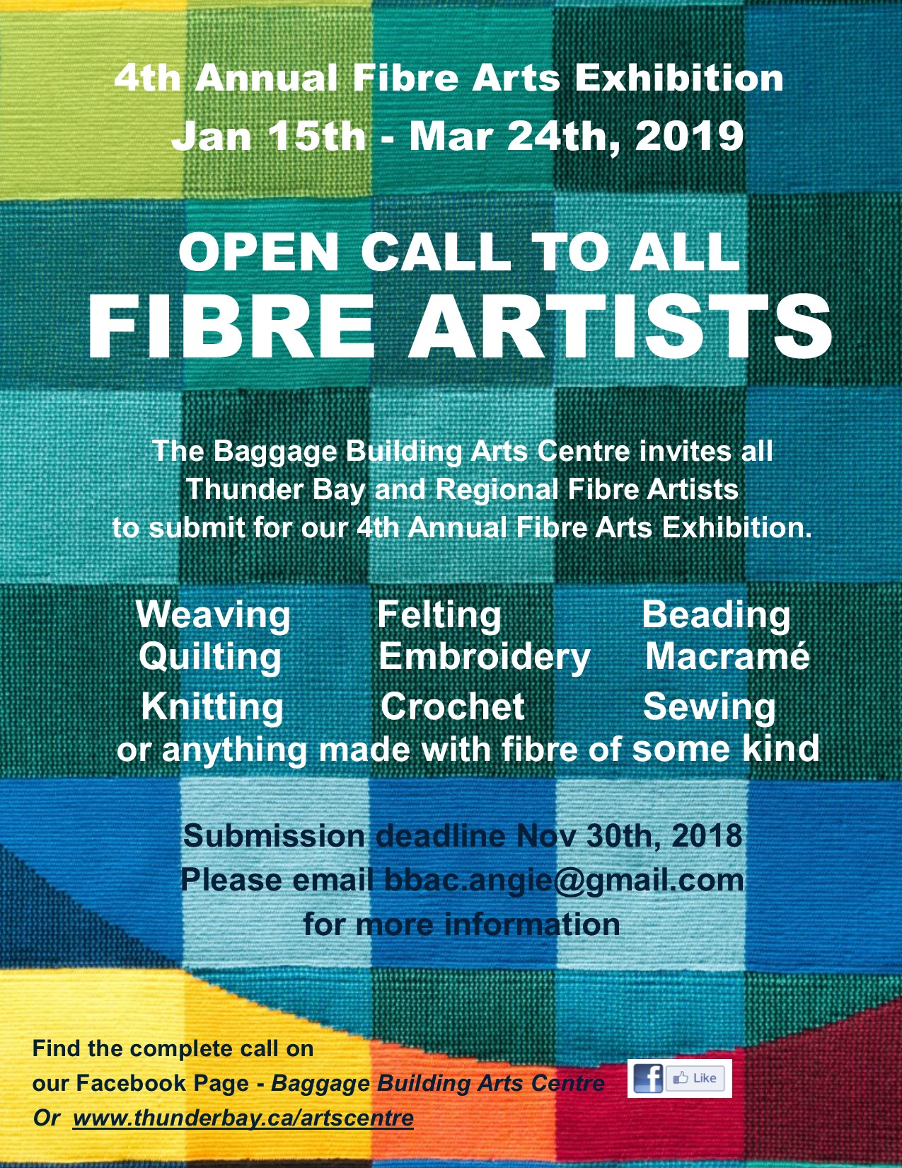 Poster for the 4th annual fibre show call to artists