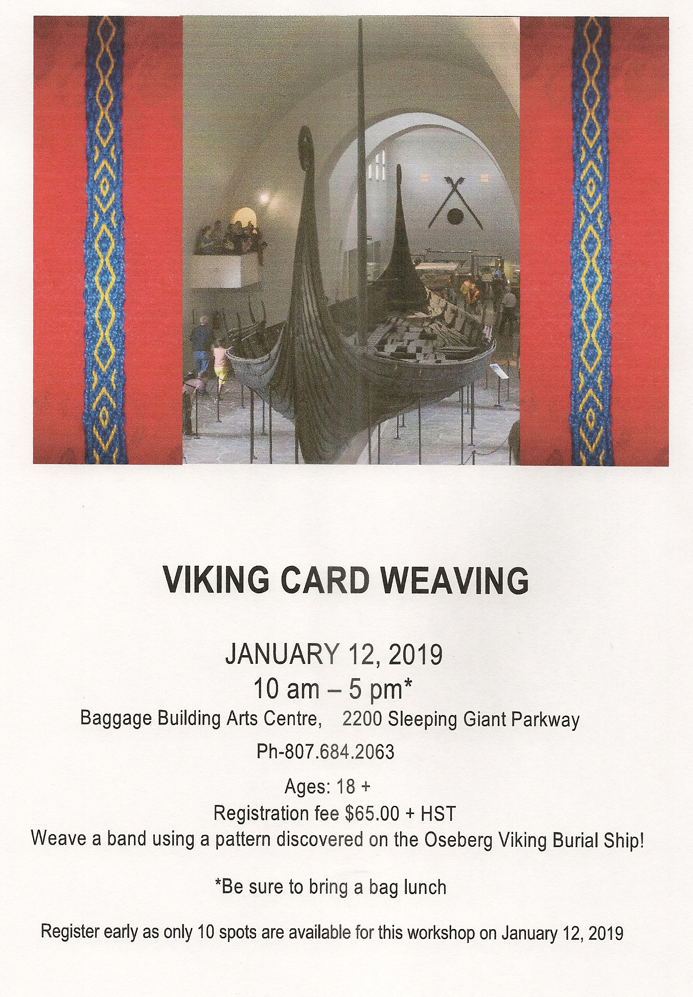 Poster with image at the top and text describing the Viking Card Weaving Workshop at the bottom
