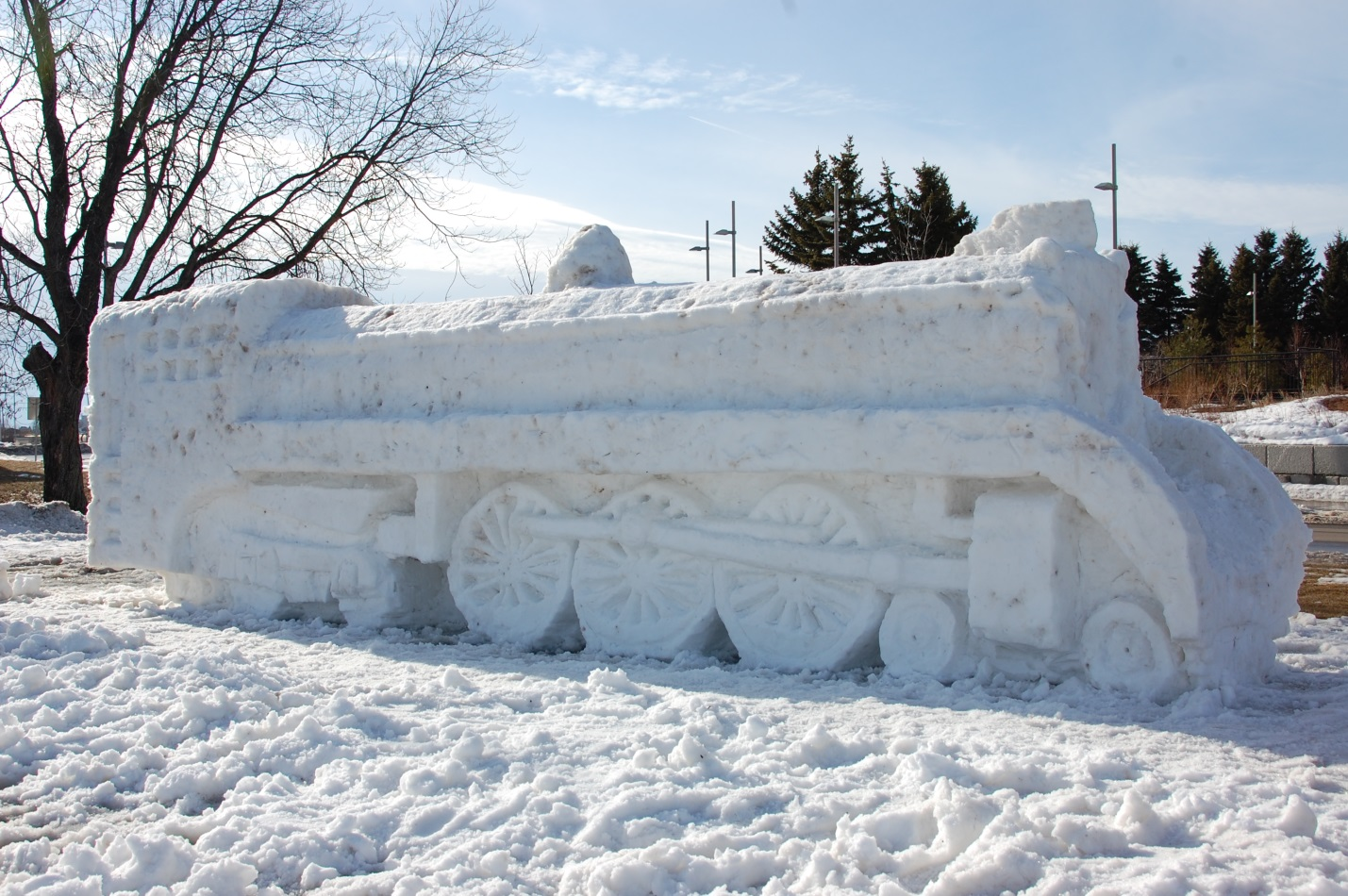 Snow sculpture of a locamotive