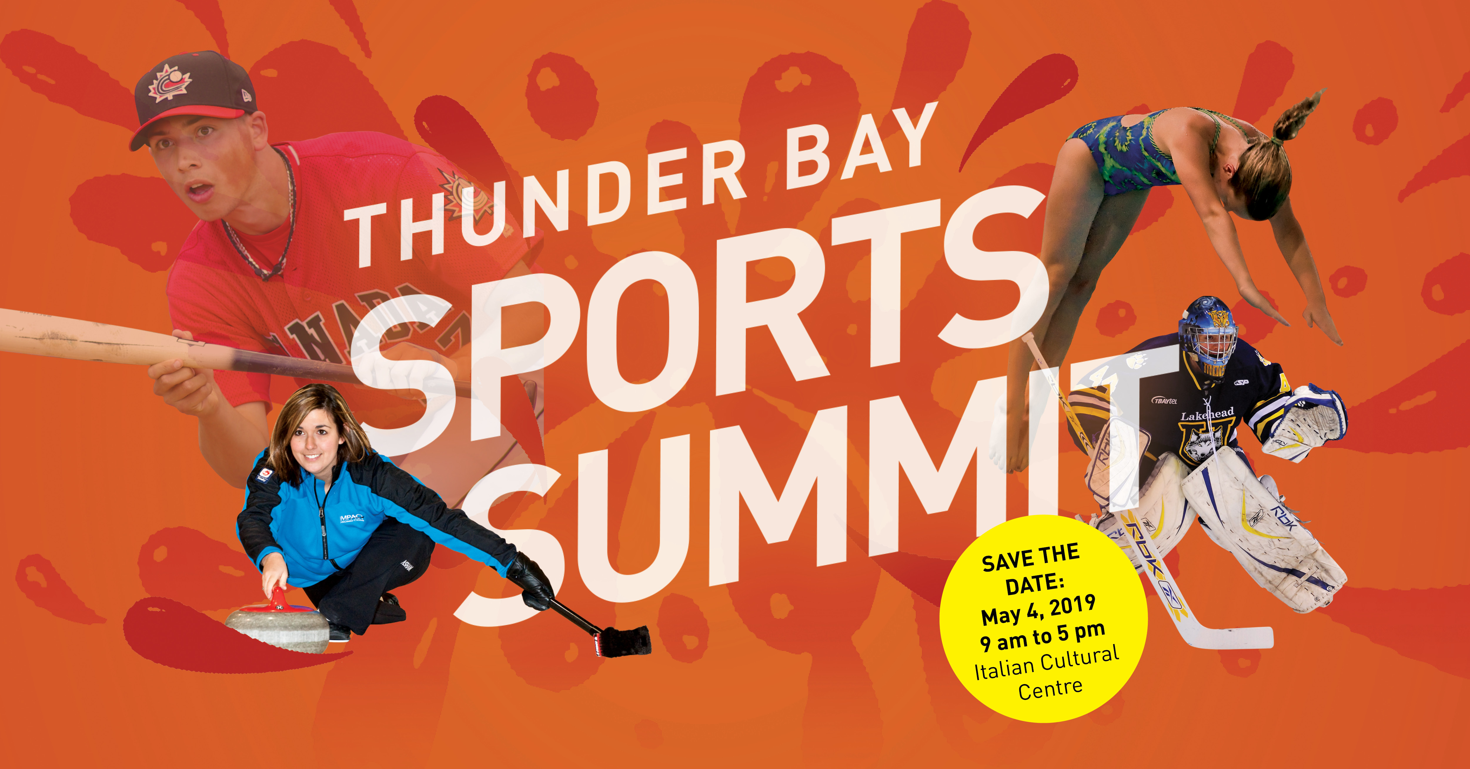 Thunder Bay Sports Summit promotional photo with various sports figures and save the date information.