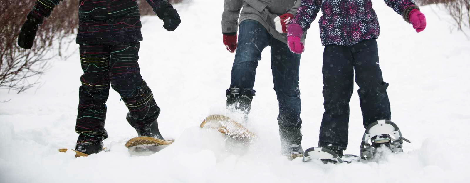 Youth snowshoeing